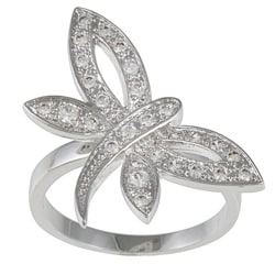 Kate Bissett Silvertone Clear Cubic Zirconia Dragonfly Ring