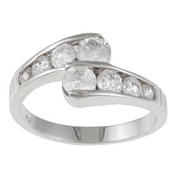 Kate Bissett Silvertone Clear Cubic Zirconia Bypass Fashion Ring