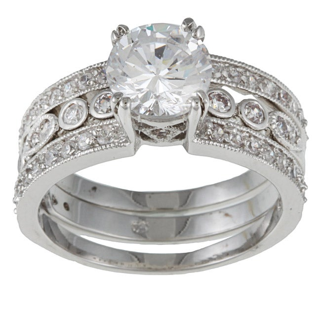 Kate Bissett Silvertone Round-cut White Cubic Zirconia Engagement Ring