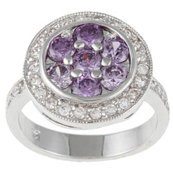 Kate Bissett Silvertone Purple and Clear Cubic Zirconia Cocktail Ring