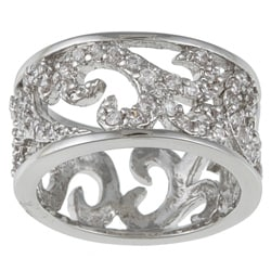Kate Bissett Silvertone Clear Cubic Zirconia Filigree Fashion Band