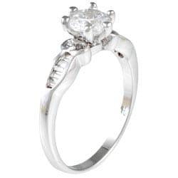 Kate Bissett White Goldtone Round-cut White Cubic Zirconia Engagement Ring