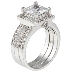 Kate Bissett Silvertone Clear Cubic Zirconia 3-piece Bridal-style Ring Set