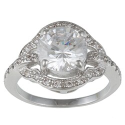 Kate Bissett Silvertone Clear Round-Cut Cubic Zirconia Engagement-Style Ring