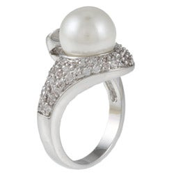 Kate Bissett Silvertone Faux Pearl and Clear Cubic Zirconia Fashion Ring
