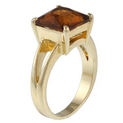 Kate Bissett Goldtone Brown Cubic Zirconia Princess-cut Ring