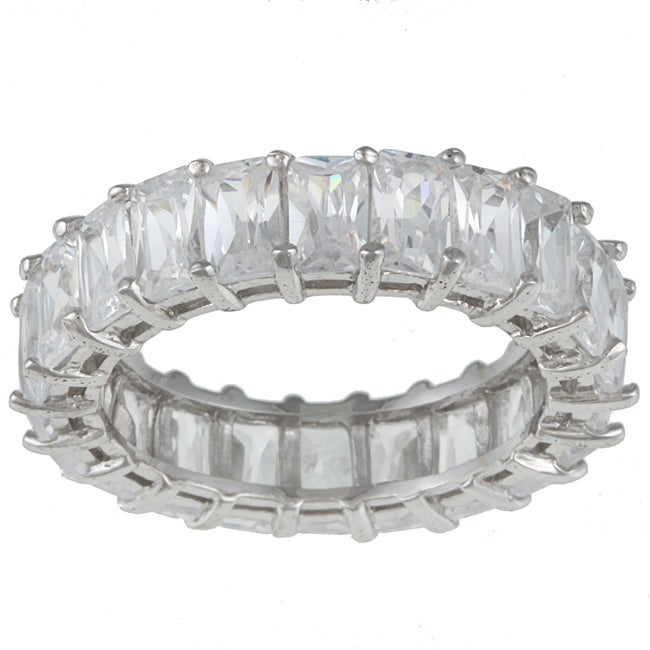 Kate Bissett Sterling Silver White Radiant-cut Stackable Cubic Zirconia Eternity Band