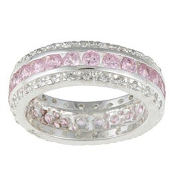 Kate Bissett Sterling Silver Pink and White Cubic Zirconia Eternity Band