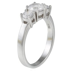 Kate Bissett Sterling Silver White Round-cut Cubic Zirconia Ring