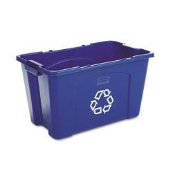 Rubbermaid Commercial 18-gallon Stacking Recycle Rectangular Blue Bin