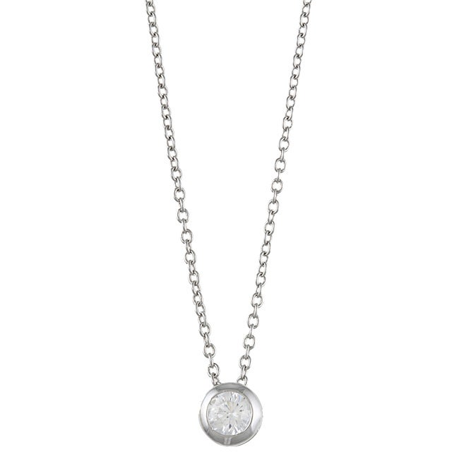 Kate Bissett Silvertone Round-cut Clear Cubic Zirconia Solitaire Necklace