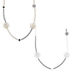 Kate Bissett Goldtone or Silvertone Black Crystal Rose Station Necklace