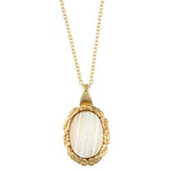 Kate Bissett Goldtone Oval-cut Pink Glass Necklace