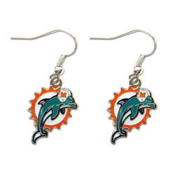 Miami Dolphins Dangle Logo Earrings