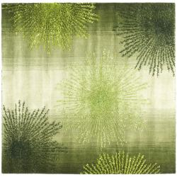 Handmade Soho Burst Green New Zealand Wool Rug (6' Square)