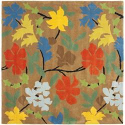 Handmade Soho Brown New Zealand Wool Indoor Rug (6' Square)