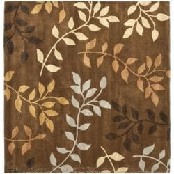 Handmade Soho Brown/Multicolored New Zealand Wool Area Rug (6' Square)