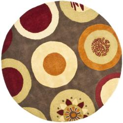 Handmade Soho Brown/Multi New Zealand Wool Floral Rug (6' Round)