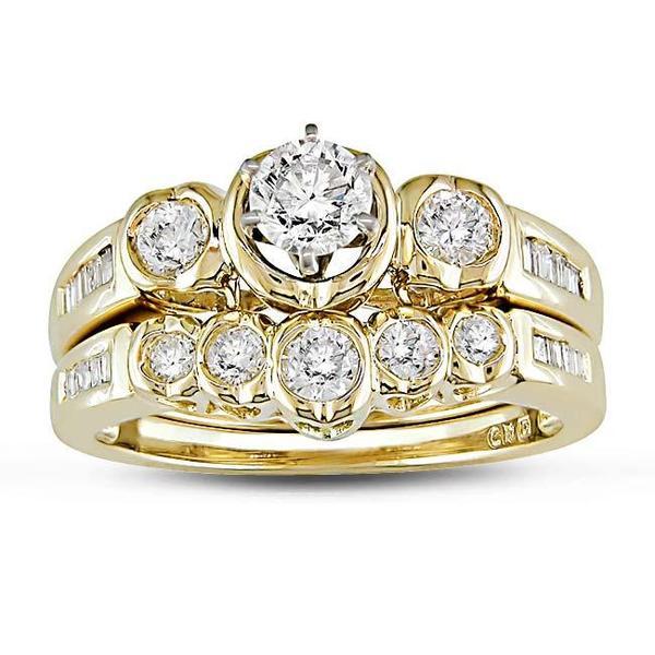 Miadora 14k Yellow Gold 7/8ct TDW Diamond Bridal Ring Set (G-H, SI1-SI2)