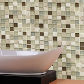Somertile Reflections Square 1-inch York Stone and Glass Mosaic Tiles (Pack of 10)