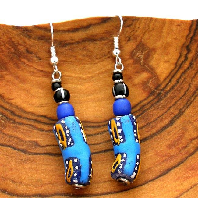 Clay Blue Krobo Bead Earrings (Kenya)