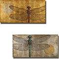 Patricia Pinto 'Dragonfly on Silver and Gold' 2-piece Canvas Art Set