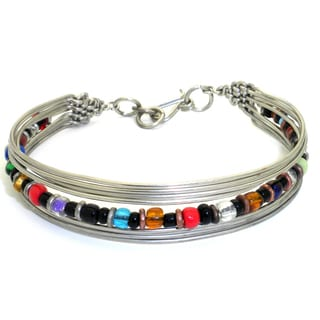 Silverplated Wire and Multicolor Bead Bracelet (Kenya)