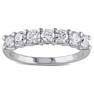 Miadora 14k White Gold 1ct TDW 7-Stone Certified Diamond Anniversary Ring (G-H, SI1-SI2)