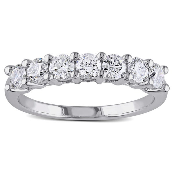 Miadora 14k White Gold 1ct TDW 7-Stone Certified Diamond Ring (G-H, SI1-SI2)
