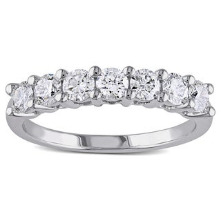 Miadora Signature Collection 14k White Gold 1ct TDW 7-Stone Certified Diamond Anniversary Ring (G-H, SI1-SI2)