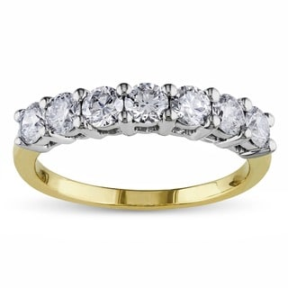 Miadora 14k White and Yellow Gold 1ct TDW Certified Diamond Anniversary Ring (G-H, SI1-SI2)