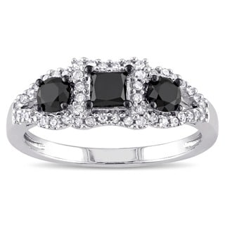 Miadora 10k White Gold 1ct TDW Black and White Diamond 3-stone Halo Ring (G-H, I3)