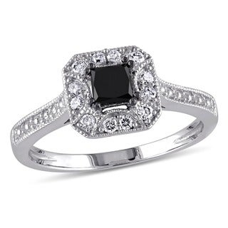 Miadora 3/5 CT Black and White Princess and Round Diamonds TW Fashion Ring 10k White Gold GH I2;I3 Black Rhodium Plated
