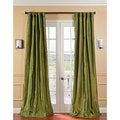 Fern Green Solid Faux Silk Taffeta Curtain Panel