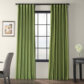 Fern Green Solid Faux Silk Taffeta 84-inch Curtain Panel