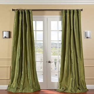 Fern Green Solid Faux Silk Taffeta 96-inch Curtain Panel