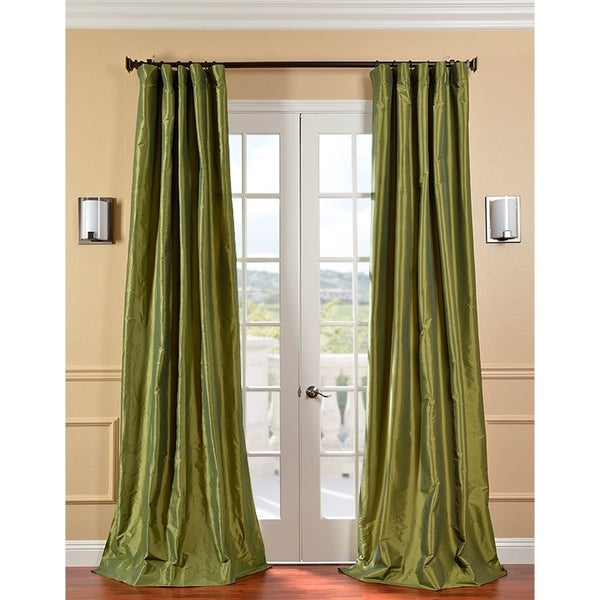 Exclusive Fabrics Fern Green Solid Faux Silk Taffeta 96-inch Curtain Panel