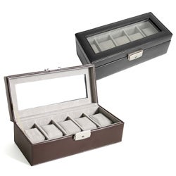 Genuine Leather 5-slot Watchbox