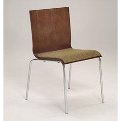 Bent plywood and chrome woven upholstered seat stacking chair set of