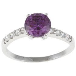 White Gold Overlay Purple/ Clear Cubic Zirconia Engagement-style Ring