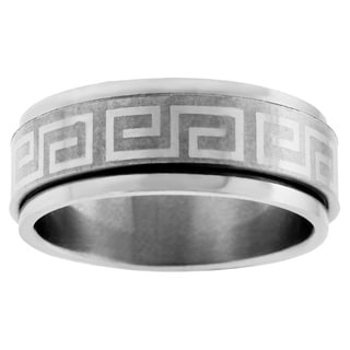 Stainless Steel Greek Key Spinner Ring
