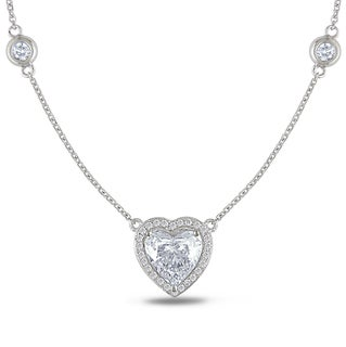 Miadora 14k White Gold 2ct TDW Certified Diamond Heart Necklace (E-F, SI1-SI2)