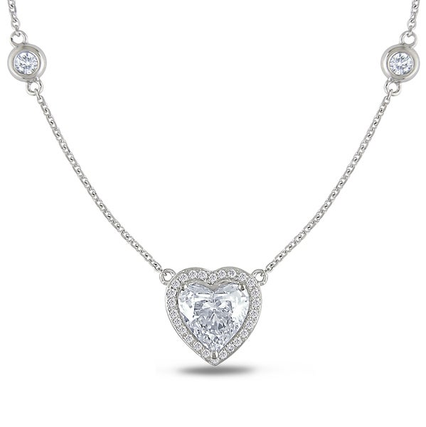 Miadora 14k White Gold 2ct TDW Certified Diamond Heart Necklace (E-F, SI1-SI2)