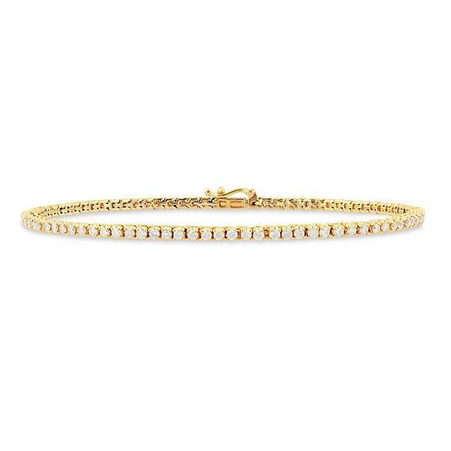 Miadora 14k Yellow Gold 2ct TDW Diamond Tennis Bracelet (G-H, I1-I2)
