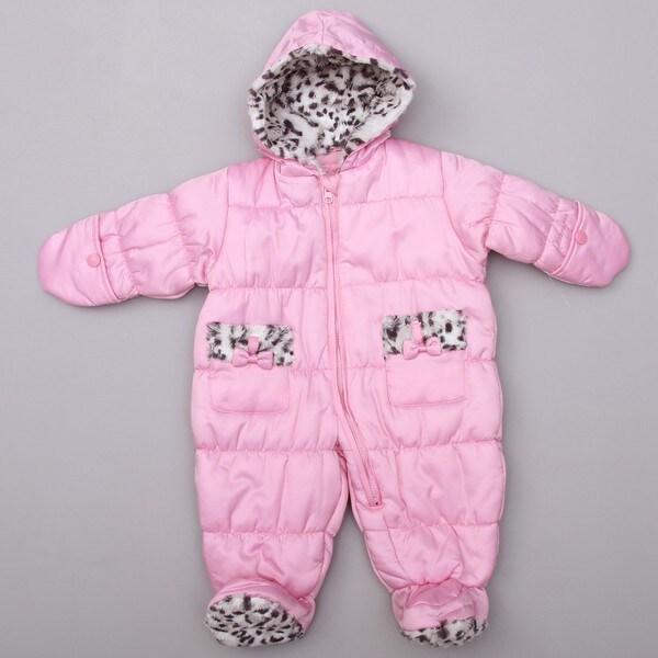 London Fog Newborn Girl's Pink Baby Pram Snowsuit