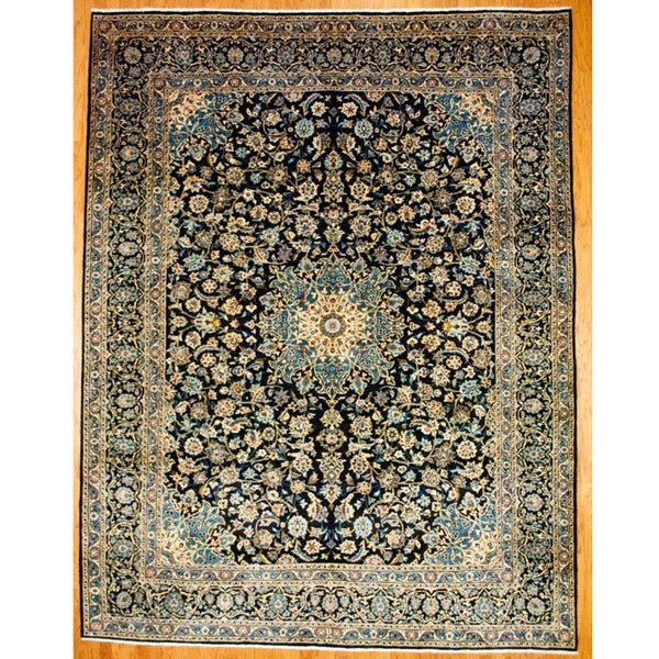 Persian Hand-knotted Mashad Navy Wool Rug (9'8 x 12'8)