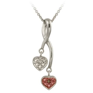 DB Designs Rose Gold over Silver Champagne Diamond Accent Double Heart Necklace