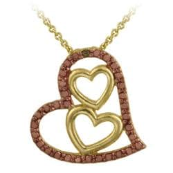 DB Designs 18k and Rose Gold over Silver Champagne Diamond Triple Heart Necklace