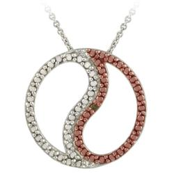 DB Designs Rose Gold over Silver Champagne Diamond Accent 'S' Circle Necklace