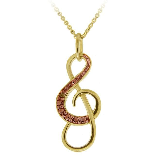 DB Designs 18k and Rose Gold over Silver Champagne Diamond Musical Note Necklace